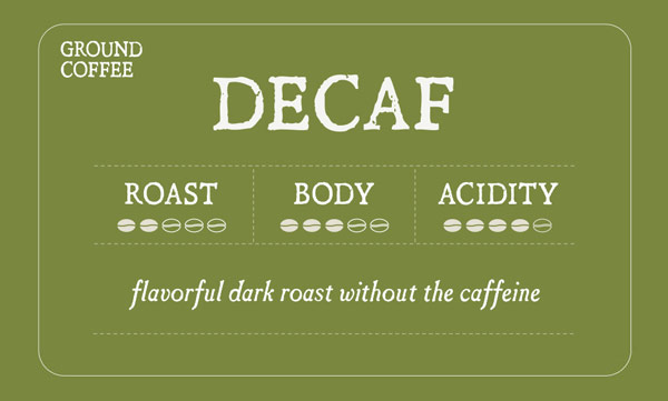 Decaf Roast Label - Roast 2/5, Body 3/5, Acidity 4/5