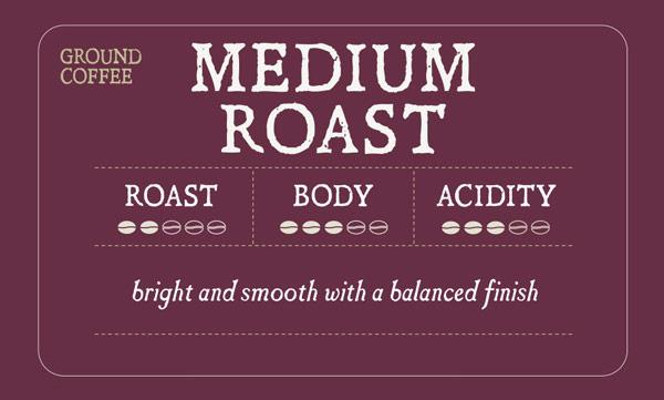 Medium Roast Label - Roast 2/5, Body 3/5, Acidity 3/5