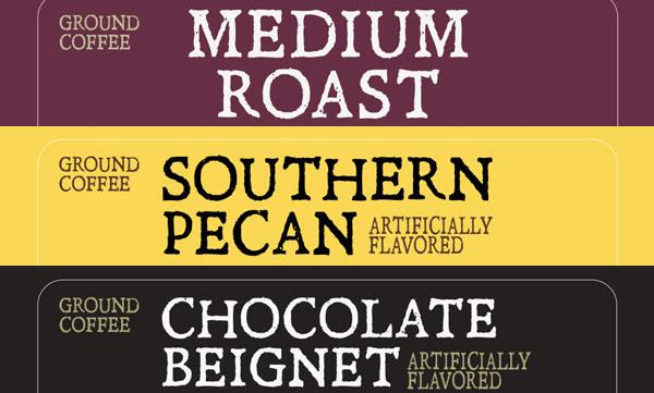 Variety Pack Roast Label - Medium Roast, Southern Pecan, Chocolate Beignet