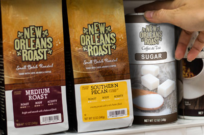New Orleans Roast coffee bags in grocery store
